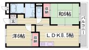 パームコート東山 2LDK/4階の間取り