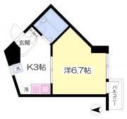 第一メゾン雅 1K/3階の間取り 1K★22.61平米★