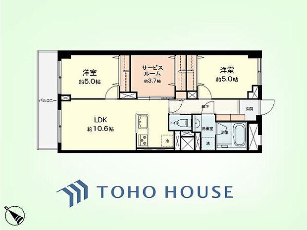 日商岩井武蔵小杉マンション(2SLDK) 3階の間取り図