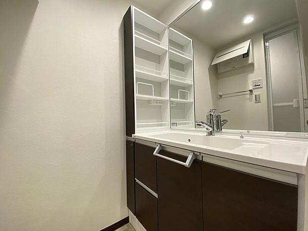 鏡の横には収納スペースあります。お化粧道具などもばっちり収納。水栓はノズルが伸びるためお掃除もラクラク。