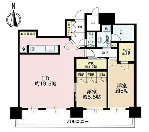 パークシティ武蔵小杉ミッドスカイタワー(2LDK) 35階の間取り図