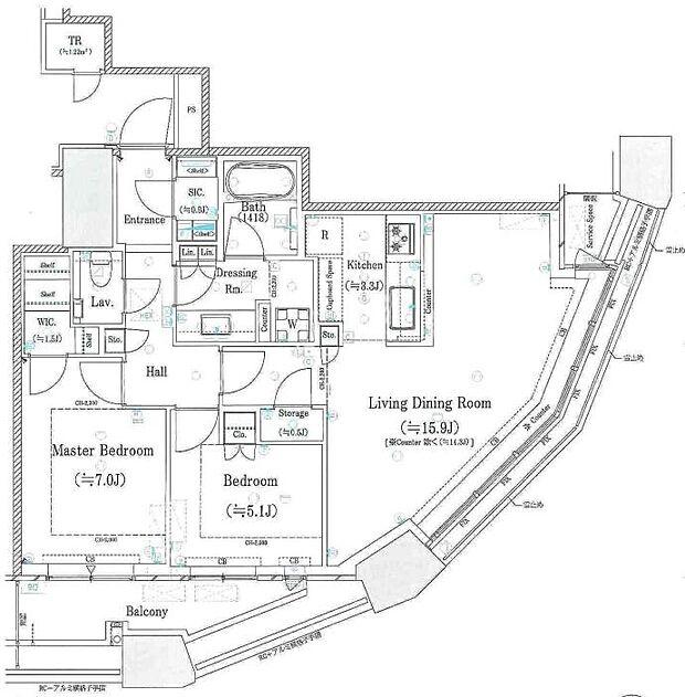 パークシティ武蔵小杉ザガーデンタワーズイースト(2LDK) 22階の間取り図