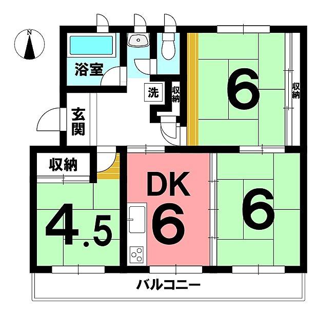 江南団地201号棟(3DK) 2階の内観