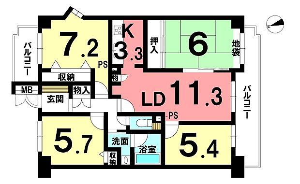 コープ野村江南中央公園(4LDK) 4階の内観