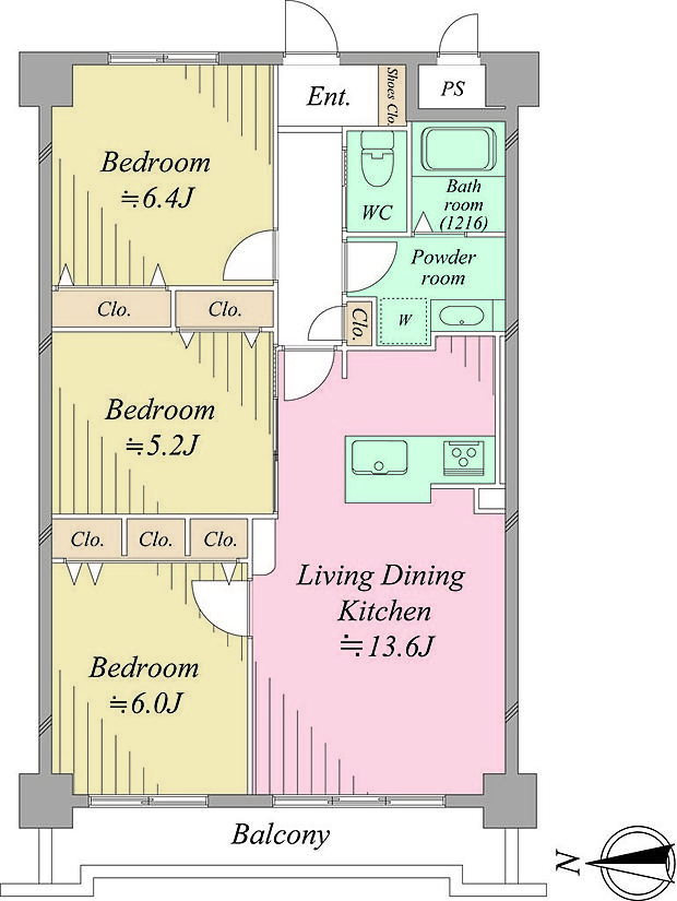 セシーズ武蔵中原(2SLDK) 4階/402の内観