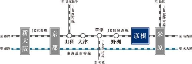 JR琵琶湖線「彦根」駅より主要都市へ、乗り換えなしのダイレクトアクセス<交通案内図>