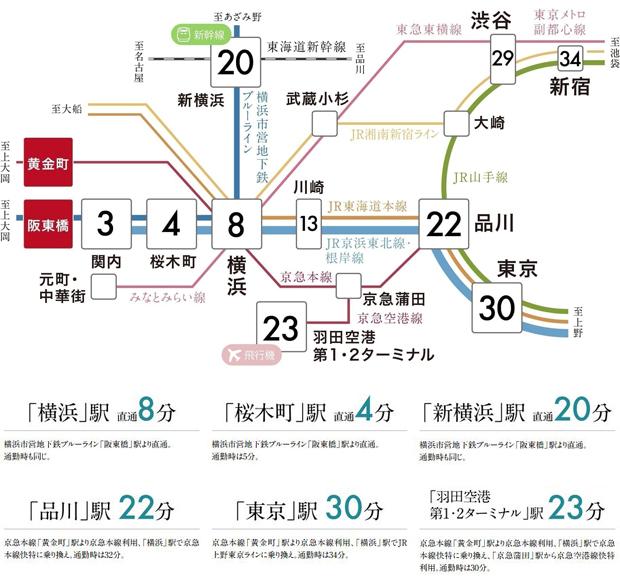 「横浜」駅直通8分・「関内」駅直通3分。主要な駅にスムーズにアクセス。<BR />※掲載の所要時間は乗換に要する時間、待ち時間は含みません。<BR />※掲載の所要時間は「駅すぱあと」調べ。また、時間帯により異なります。<BR />※掲載の情報は2021年2月時点のものです。<交通案内図>