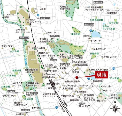 現地所在地/愛知県大府市中央町七丁目124番1、124番2、125番1、125番2、126番、127番2<現地案内図>