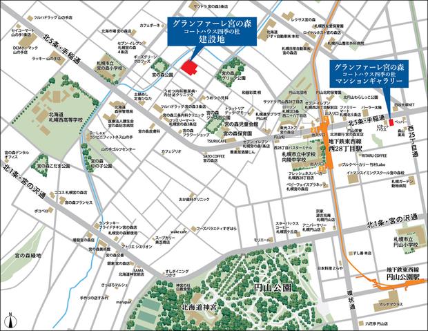 <現地・マンションギャラリー案内図(広域)>