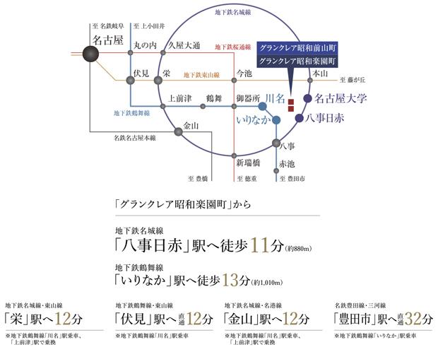【地下鉄2路線2駅利用で都心へ自在なアクセス。】<BR />開発が進む「名古屋」「栄」をはじめ、主要な駅へスムーズにアクセス。通学や通勤、ショッピングに便利なアクセス網が広がっています。<BR />※掲載の電車所要時間は平日・日中時の運行時刻表によるもので、乗り換え・待ち時間は含まれておりません。なおラッシュ時にはさらに時間を要する場合があります。yahoo!路線情報調べ(2021年3月現在)。<BR />※掲載の情報は2021年2月調べのもので変更になる場合があります。<交通案内図>