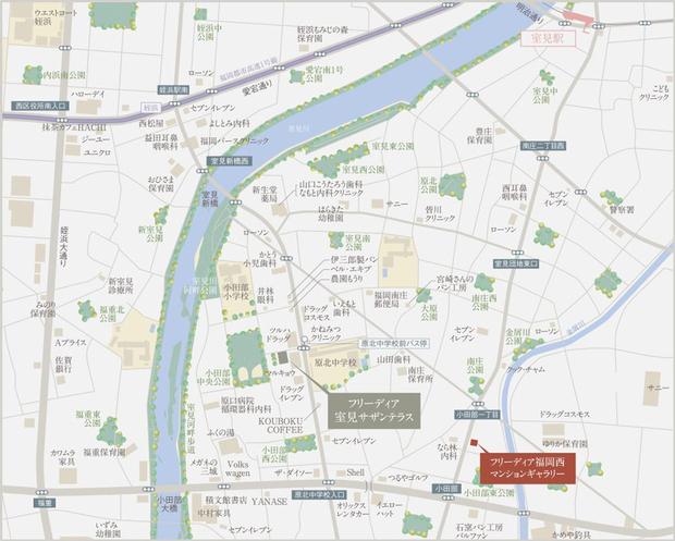 <現地・フリーディア福岡西マンションギャラリー案内図>