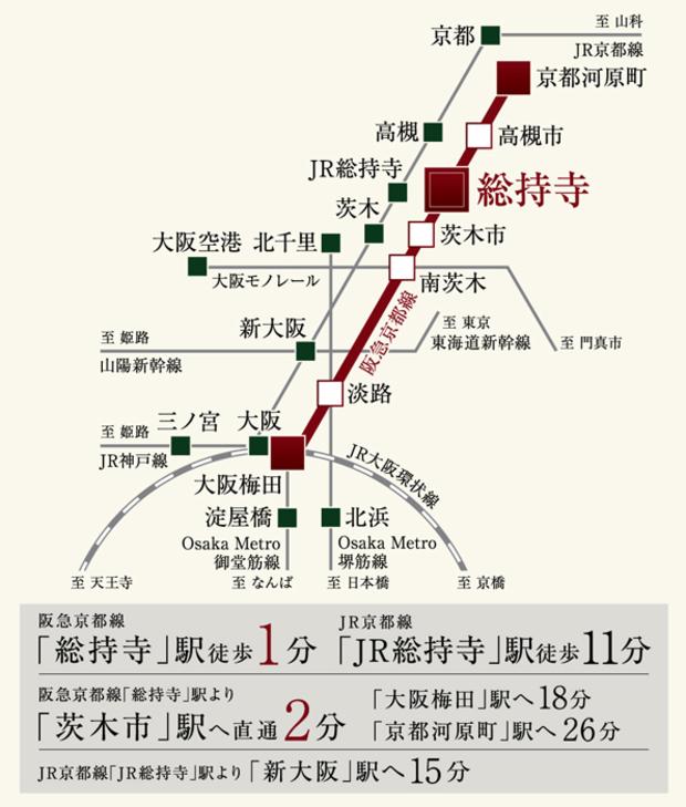 京・阪・神へ軽快に駆けられる、充実の交通ネットワーク。<BR />※電車による所要時間は日中平常時のもので、ラッシュ時・時間帯によって異なる場合がございます。また、乗り換え・待ち時間は含まれておりません。※掲載の情報は2021年4月時点のものです。<交通案内図>