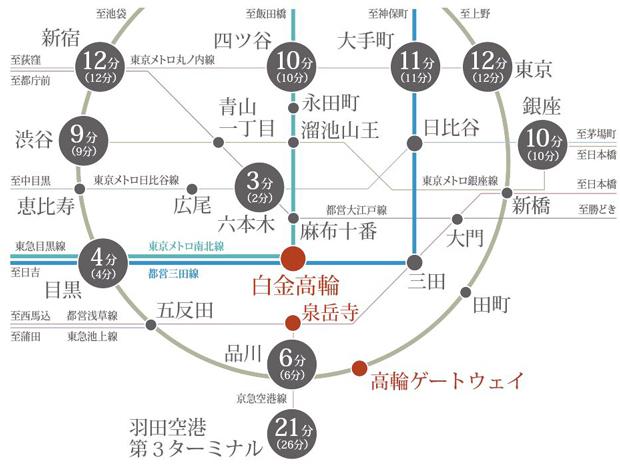 【都心へ、空港へスムーズにつながる3駅6路線に恵まれる贅沢】<BR />「白金高輪」駅は始発電車も利用可能。通勤・通学も、座ってより快適に。<BR />[白金高輪駅の8時台始発本数(永田町・大手町方面)]<BR />東京メトロ南北線4本/都営三田線7本<BR />※上記所要時間は日中平常時のもので、時間帯により異なります。( )内は通勤時の所要時間です。また、乗換え、待ち時間等は含まれておりません。<BR />※2021年3月現在のダイヤによるものです。「駅すぱあと」調べ<交通案内図>