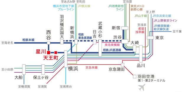 【相鉄本線 快速停車駅「星川」駅から、ターミナル「横浜」駅へ直通4分(7分)※1の軽快アクセス。】<BR />日中は快速電車を利用してターミナル「横浜」駅へ1駅、直通4分※1の優れたフットワークを実現する「星川」駅。朝の通勤時間帯の運行本数も多く、毎日の通勤・通学も快適です。相鉄・JR直通線に加え、2022年に相鉄・東急直通線も開業予定※で、さらなる利便性の向上が期待されます。<BR />※掲載の所要時間は日中平常時(カッコ内は通勤時)の目安であり、時間帯により多少異なります。また、待ち時間・乗り換え時間を含みません。<BR />※1 相鉄線快速利用(通勤時:相鉄本線利用)出典:独立行政法人鉄道建設・運輸施設整備支援機構ホームページ(2021年2月現在)<交通案内図>