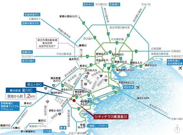 【都心や空港へのアクセスも快適。】<BR />カーアクセスでは、横浜はもちろん首都高速や横浜新道など高速のI.Cが近いので、都心や空港方面へも快適です。また、横浜環状北西線が2020年に開通したことで、東名高速に接続し、箱根や名古屋方面へもスムーズに移動できます。<BR />※掲載の高速道路マップは一部道路・I.C.・出入口等を抜粋して表記しています。<BR />※距離表示については地図上の概測距離を、高速道路は「ドラぷら(NEXCO東日本)」ホームページにて検索(2021年2月現在)したものです。所要時間は、時間帯・交通事情により異なる場合があります。<BR />※1 東京外環自動車道(東京区間)についての情報は「国土交通省関東地方整備局」ホームページを基にしています。(2021年2月現在)<交通案内図>