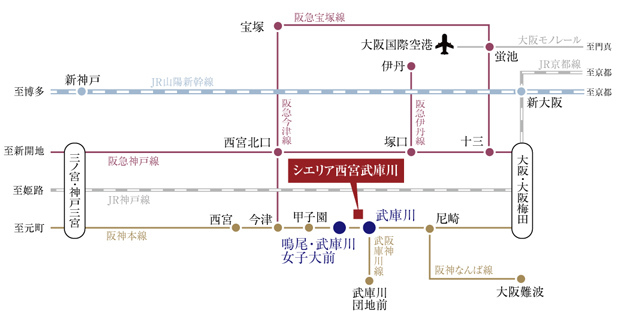 【「鳴尾・武庫川女子大前」駅へも徒歩8分。2駅の利便性もともに享受。】<BR />最寄りの急行停車駅「武庫川」駅へフラットアクセス徒歩5分。大阪梅田・神戸三宮・大阪難波にスムーズに移動でき、通勤・通学・レジャーも快適です。リニューアルが進む「鳴尾・武庫川女子大前」駅へも徒歩8分で、新しい利便性も享受できます。また、高速道路の出入り口も近く、マイカーでのお出かけも軽快です。<BR />「大阪梅田」へ13分。「難波」にも直結する唯一の路線を快適に。<BR />大阪・梅田へ13分以内で行ける、わずか5駅の中の1つです。<BR />※掲載の所要時間は、通勤時(7時00分発~9時00分着)の目的駅への到着時刻です。乗換え・待ち時間は含みません。また、時間帯により多少異なります。<BR />※2020年3月現在のものであり、ダイヤ改正等により変更になる場合があります。<交通案内図>