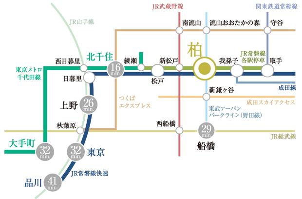 【都心直結。3路線利用のアクセス。】<BR />「柏」駅からは、JR常磐線快速、JR常磐線各駅停車、東武アーバンパークラインの3路線を利用可能。JR常磐線快速は「上野」駅、「東京」駅、「品川」駅へ直通。JR常磐線各駅停車は東京メトロ千代田線への乗り入れで、「大手町」駅へ直通。東武アーバンパークラインは船橋方面へのアクセスに便利です。<BR />※電車所要時間は日中平常時のもので、乗り換え、待ち時間は含みません。また時間帯により異なります。掲載の情報は2021年3月時点のもので、今後変更となる場合がございます。(駅すぱあと「アクセス時間検索システム」調べ)<交通案内図>