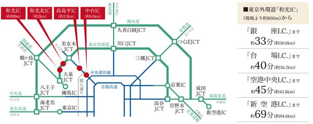 東京外環道の「和光IC」まで約800m。都心方面や空港方面、レジャーへ自在なカーライフ。<BR />※自動車での分数は実測によるものです。<BR />※掲載の情報は2021年3月時点のもので今後変更となる場合があります。<交通案内図>