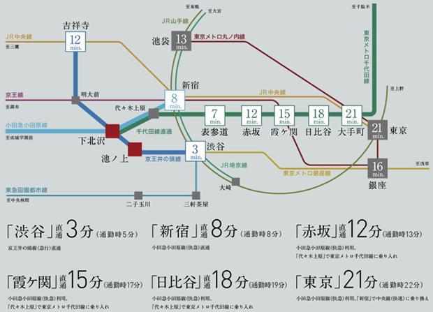 渋谷まで直通3分。新宿まで直通8分。赤坂まで直通12分。都心へダイレクトアクセス。<BR />※各路線で最短の所要時間を算出しています。・乗り継ぎ、待ち合わせ時間は含まれません。<BR />※「ジョルダン」時刻表を参考に作成しています。<BR />※掲載の情報は2020年10月23日現在のものです。<BR />※通勤時=目的駅に8:30~9:30着 日中時=目的駅に9:31~18:00着としています。<交通案内図>